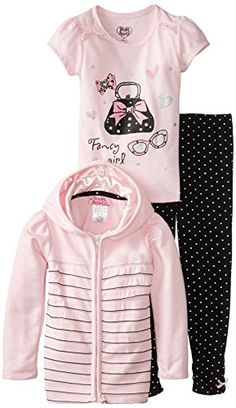Young Hearts Little Girls' 3 Pieced Polka Dot Tack Bow Jackethood and Pant Set