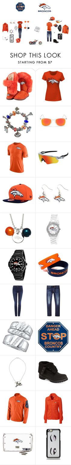 """""""Mr.& Mrs. #1 Broncos FANS!!! (Made By Mom)"""" by theultrafighter ❤ liked on Polyvore featuring Cuce, Majestic, Pandora, Ray-Ban, NIKE, Oakley, New Era, aminco, Honora and Game Time"""
