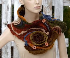 Crochet scarf Freeform Crochet Scarf Capelet Neck Warmer Brown Green Orange blue Chunky Knit one of a kind Textured scarf Gift Roses