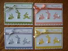 Bunny Easter Card Kit (die-cut/stamped Assorted Colored Bunnies) w/Stampin Up