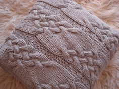 Silver Gray Handmade Cabled Knit Pillow cushion by ELITAI on Etsy,