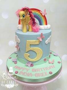 A cute My Little Pony Fluttershy girly 5th birthday cake