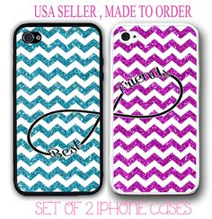 PINK TEAL (NO GLITTERS) CHEVRON BFF BEST FRIENDS CASES For iPhone 7+ 6S SE 5S S7 #UnbrandedGeneric