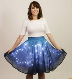 This amazing starry skirt contains over 250 LED lights, which is sure to make you shine as bright as the stars under the night sky. [[MORE]]Called the Twinkling Stars Skirt, the striking skirt is...