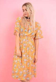 90s+Vintage+Orange+Floral+Pattern+Midi+Dolly+Dress