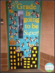 A superhero themed classroom is a fun idea for classroom organization and classroom decor. Superhero classroom decor ideas are gathered up in this blo… - Decoration For Home Superhero Classroom Decorations, Superhero Door, School Decorations, School Themes, Classroom Themes, School Classroom, Classroom Organization, Superhero Bulletin Boards, Classroom Door Displays