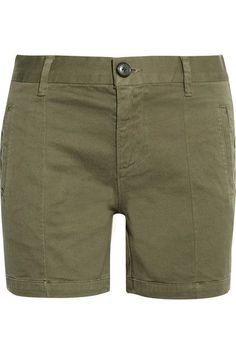 FRAME - Le Cuffed Cotton-blend Shorts - Army green - 25