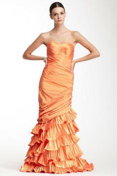 Dalia MacPhee Strapless Cascade Pleat Dress by Dalia MacPhee on @HauteLook