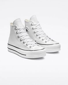 Chuck Taylor All Star Platform Clean Leather High Top Chuck Taylor All Star Lift Clean Leather High Top White/Black/White High Top Converse, Platform Converse, Converse Chuck Taylor All Star, White Converse, Platform Sneakers, White High Top Sneakers, Platform Shoe, Converse Outfits, Converse Shoes