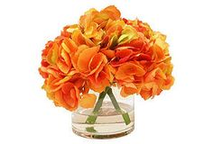"""One Kings Lane - Summer Blooms - 9"""" Hydrangea in Glass Vase, Orange  - inspiration for a DIY project"""