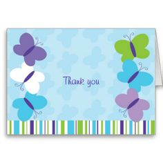 Bright Butterfly Thank You Note Cards