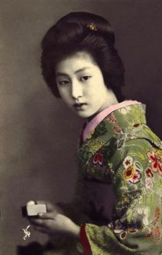 Postcard Memories of the Geisha=The images were mass printed and colour would hand-painted afterwards