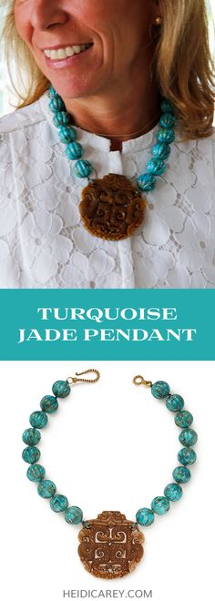 Slip on this chunky turquoise necklace featuring an intricately carved brown jade pendant for a statement. The turquoise bead necklace is made with compressed turquoise beads carved into pumpkin shapes, creating a one of a kind look. More moody than other turquoise necklaces, this necklace is a perfect addition to the turquoise lover's collection. Turquoise Necklace | Statement Necklace | Chunky Necklace | Bold Necklace | Big Bead Necklace | Asian Pendant Necklace | Asian Inspired Necklace