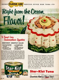 What do you get when you combine lemon jello with tuna, mayonnaise, onion, celery and pimento? A Monterey souffle salad! Jello Recipes, Old Recipes, Vintage Recipes, Gross Food, Weird Food, 1950s Food, Vintage Ads, Vintage Food, Retro Ads