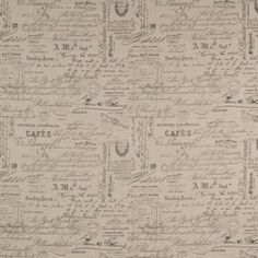 RUE DE PARIS is a novelty fabric featuring random caligraphy style writings in French. The print is a medium grey colour, where-as REVENGE print is black. Warwick Fabrics, Novelty Fabric, Chair Fabric, Soft Furnishings, Natural, Printables, Embellishments, Upholstery, Australia
