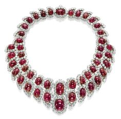 http://rubies.work/0756-blue-sapphire-earrings/ A ruby and diamond bib necklace…