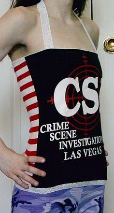 CSI Halter Top TV Show DIY Shirt OoAk Crime Scene by DarkStormDIY, $28.00