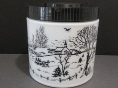 Vintage Milk Glass Currier and Ives Canister Cookie Jar or