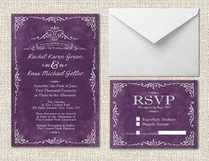 #Purple Wedding Invitations by The Roche Shop on Etsy, #GrungeInvitations #VintageWeddings