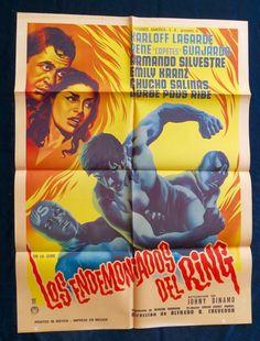 LOS ENDEMONIADOS DEL RING WRESTLING MEXICAN MOVIE POSTER 1964 LUCHA LIBRE