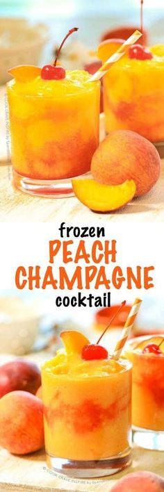 "This Frozen Peach Champagne Cocktail takes just 5 minutes to prep and is the hit of every party! The fresh flavor of juicy ripe peaches combined with champagne creates the perfect slushy summer cocktail! Good wedding cocktail for ""Amy and Alladin. Party Drinks, Cocktail Drinks, Cocktail Recipes, Alcoholic Drinks, Beverages, Cocktail Ideas, Margarita Recipes, Peach Margarita, Peach Vodka"