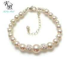 Pearl Bridal Bracelet, Cubic Zirconia, Wedding Jewelry, Sterling Silver, Bridal Shower Gift, Prom Jewelry, Anniversary Gift, Bridesmaid Gift