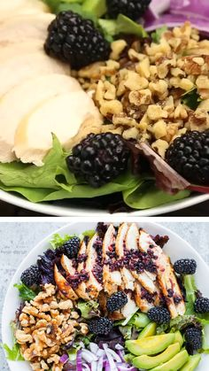 This blackberry chicken salad is full of fresh and juicy blackberries and drizzled over with a blackberry balsamic vinegar dressing! This blackberry chicken recipe is a textural delight with walnuts, avocados, and red onions! Save this pin for later! Seafood Appetizers, Seafood Recipes, Diet Recipes, Healthy Recipes, Healthy Blackberry Recipes, Easy Recipes, Blackberry Salad, Balsamic Chicken, Balsamic Vinegar