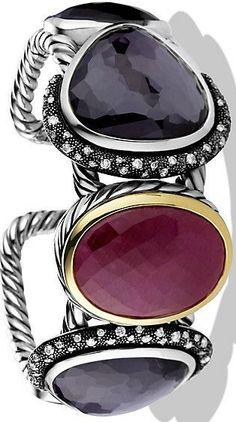 David Yurman Moonlight Cuff Bracelet with Ruby, Black Orchid, Diamonds, and Gold