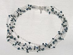 Blue apatite wire crochet necklace by craftysou on Etsy, $35.00