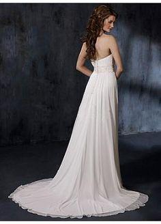 Buy Stunning Chiffon Strapless Ruched Bodice with Slim Sheath Skirt in Elegant Beaded Waistline Wedding Gown