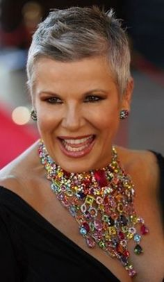 The Grey Haircut with Spikes in the Front  What a stunningly beautiful woman and cut. And that statement necklace!  Gorgeous!