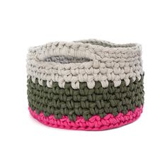 """Amy Eve Jo Basket 10"""" - Sand, Green, and Pink"""