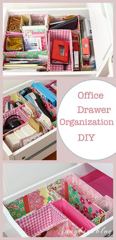 Office drawer organizing. A DIY project using old boxes. Free, easy and so pretty to look at!