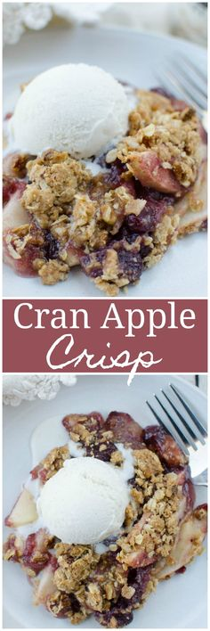Apple Cranberry Crisp - the easiest Thanksgiving dessert! Sliced apples and whole berry cranberry sauce topped with a crunchy oat topping.