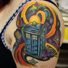 Vibrant Doctor Who tattoo