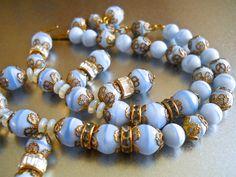 Blue Art Glass Necklace KRAMER of NEW YORK by RenaissanceFair