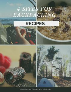 4 Sites for Backpacking Recipes || heartofthewoods.com Hiking Food, Hiking Tips, Camping And Hiking, Camping Survival, Tent Camping, Backpacking Recipes, Camping Meals, Family Camping, Camping Recipes
