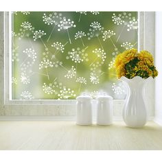 Features:  -Dandelion collection.  -Frosted privacy film.  -Adhesive film.  Product Type: -Window sticker and film.  Theme: -Trees & Flowers.  Color: -White; Green.  Compatible Surface Type: -Glass.