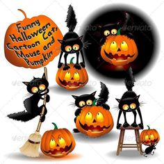 Buy Funny Halloween Cartoon Cat, Mouse and Pumpkin by Bluedarkat on GraphicRiver. A set of 5 Humorous Halloween Cat Cartoon illustrations, including files AI, EPS, Corel Draw and SVG Halloween Rocks, Halloween Signs, Halloween Cat, Happy Halloween, Halloween Decorations, Halloween Cartoons, Halloween Clipart, Hallows Eve, Cat Art