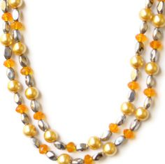 Sparkling yellow silver cream beaded necklace Long by ALFAdesigns