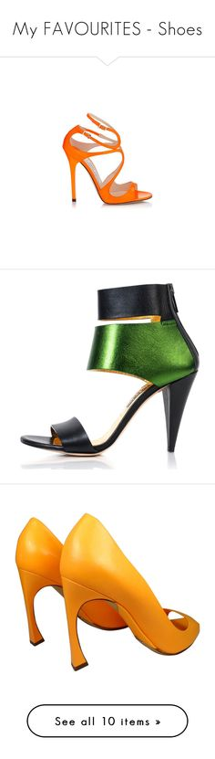 """""""My FAVOURITES - Shoes"""" by for-the-art-of-fashion ❤ liked on Polyvore featuring shoes, sandals, strappy shoes, orange shoes, strappy sandals, orange strappy sandals, neon shoes, heels, green and green heeled shoes"""