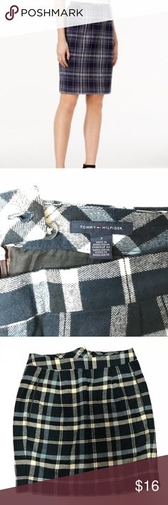 Tommy Hilfiger Plaid Skirt Plaid skirt, flannel-like material. Has zipper on the back with button and clasp. Pockets on the front sides, great condition! Smoke free & pet free home! Tommy Hilfiger Skirts