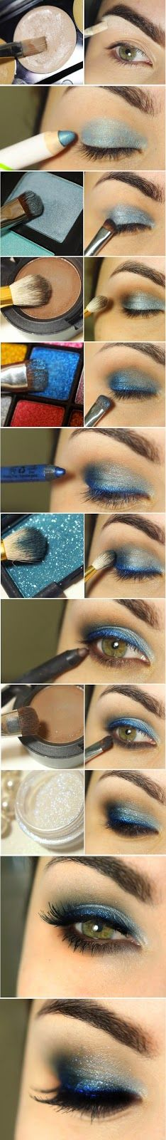 Gorgeous Pop Blue and Smokey Brown Shade Makeup Tutorials... #fashion #makeup