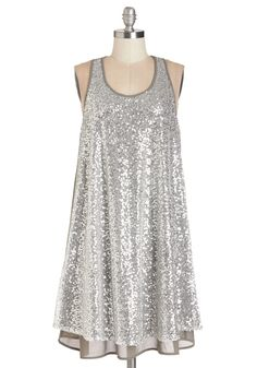 Center of the City Dress. You shine as bright as the city lights when you step out for a downtown date in this sparkling grey dress! #silver #modcloth