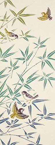 PRAIRIEDOG WAFUKA Tenugui Autumn Situation Bamboo Sparrows Floral Print Wallpaper, Floral Prints, Japanese Fabric, Japanese Art, Sparrows, Fabric Patterns, Oriental, Tape, Bamboo