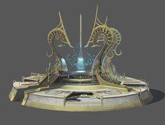 Portal device by MuSeup Choi on ArtStation. High Fantasy, Fantasy World, Fantasy Art, Dwarven City, Tea Table Design, Fantasy Setting, Wow Art, Fantasy Weapons, Environment Design