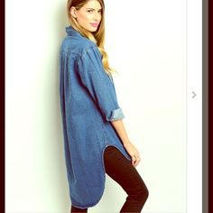 Denim Hi Lo Button Up Cape Tunic Dress NWT So flippin CUTE! Love this trendy style! Only 1L, 1M and 2S left!  linsleppo2 Tops Button Down Shirts