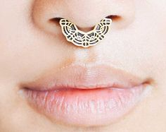 Gold Septum Ring - Gold Nose Ring - Lace Septum Ring - Septum Ring