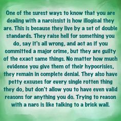 Narcissists and double standards
