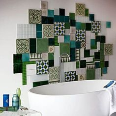patchwork wall decoration made of white and green bathroom tiles is one of modern interior design trends Mosaic Bathroom, Bathroom Tile Designs, Mosaic Tiles, Bathroom Wall, Cement Tiles, Washroom, Bathroom Ideas, Patchwork Tiles, Wall Tiles Design